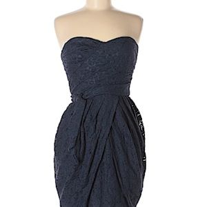Guess Strapless Navy Floral Lace Dress